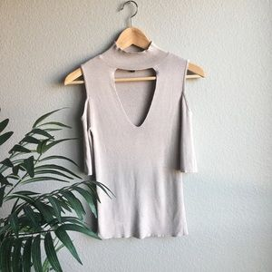 Express cold shoulder peach shirt size small